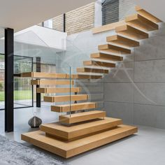 floating stairs Bespoke oak and glass staircase with floating treads and structural glass handrail for a new build property on the outskirts of Leeds Staircase Design Modern, Home Stairs Design, Floating Staircase, Staircase Railings, Modern Stairs, Staircase Ideas, Staircases, L Shaped Stairs, Glass Handrail