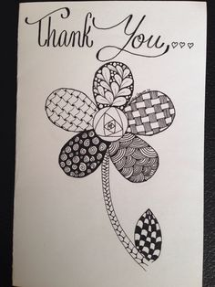 Simple Zentangle flower thank you card-By Ashley Anderson