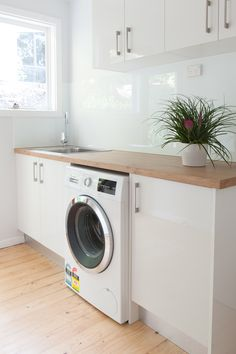 Budget Friendly Laundry Designs & Renovations Melbourne Did you know Kitchen Shack also designs small, medium & large laundries for homes in Melbourne? We have an extensive range of benchtops, fixtures & fittings Laundry Room Layouts, Laundry Room Remodel, Small Laundry Rooms, Laundry In Bathroom, Attic Remodel, Kitchen Remodel, Laundry Decor, Laundry Room Organization, Laundry Room Design
