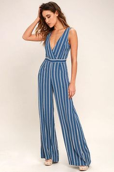10c19ac83e1c Montauk Yacht Club Blue and White Striped Jumpsuit - Lulus