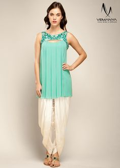 Bahama green tunic and candlewick colored dhoti pants.