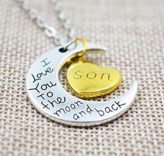 A perfect gift for your mom!   #jewelry #jewellery #jewelery #necklase #pendant #iloveyoutothemoonandback #iloveyouson #son #christmasgift #birthdaygift #heart #moon #mothersday #mothersdaygift
