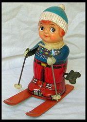 Vintage Tin Skier Wind-up Toy