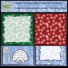 "Enjoy the Freebie and make me smile with a "":) - Smiley Face"" in the comments!!!Here is a December Freebie Pack which includes four frames and digital paper as well as a Black Line Igloo and Candy Cane.These samples, are part of larger sets in my TpT, check them out!"