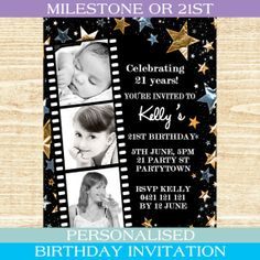 Personalised black gold silver star stars theme special birthday 21st invitation or any age