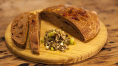 Portuguese Tomato Bread with Rustic Green Olive Tapenade