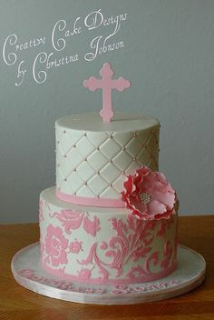 Pink Baptism by Creative Cake Designs   #Buttercream #cake. Beautiful girly cake