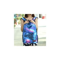 Galaxy Print Nylon Backpack (54 RON) ❤ liked on Polyvore featuring bags, backpacks, accessories, nylon backpacks, blue backpack, planet bags, rucksack bags and knapsack bag