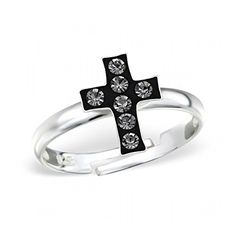 Children's Silver Cross Ring Adjustable with Crystal *** Want to know more, click on the image.