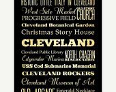 ON SALE Cleveland, Ohio, Typography Art Poster / Bus  / Transit / Subway Roll Art 18X24 - Cleveland's Attractions Wall Art Decoration -  LHA