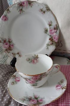 Gorgeous pink rose pattern vintage fine china teacup trio, beautiful gift, tea party, wedding favour or vintage cottage chic decor. by Prettyvintagehouse on Etsy