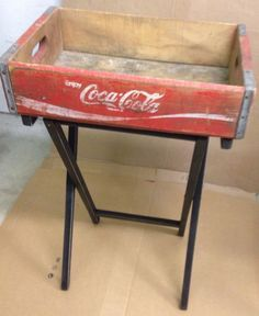 Antique Coke crate marries TV tray table bottom to create this cute side table. Check out our String Bean Esthetics board for more makeovers!!