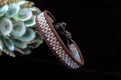 Brown Leather Single Wrap Bracelet with Miyuki by beadbound, $25.00