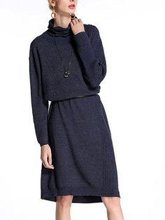Shop - Navy Blue H-line Cowl Neck Long Sleeve Midi Dress online. Discover unique designers fashion at StyleWe.com.