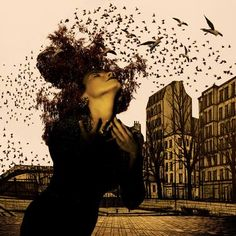 "Saatchi Art Artist robert de klonia; Photography, ""Portrait with birds"" #art"