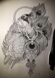 Каталог эскизов тату с птицами, идеи для разработки индивидуального дизайна, фотографии татуировок. Значение тату с птицей.