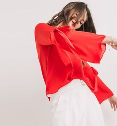 Top satin rosso - Promod
