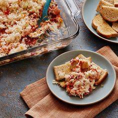 Five-Layer Reuben Dip #superbowl #party #app #snack #cheese #sauerkraut #cornedbeef