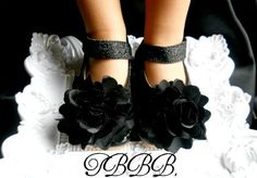 Toddler Black Sparkle Leather Squeaky Mary by TheBabyBellaBoutique, $28.99