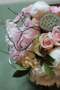 Roses, peonies and lotus pod   Flower arrangement ...♥♥...