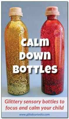 Glittery and mesmerizing calm down bottles to help focus and calm your child when he or she needs time to regulate his/her behavior. Kids won't be able to resist these bottles!