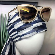 Another distinctive cross sell created by this Henri Bendel Bandana Headform Display. Discover the bandana as a surprise offering amid purses and bags Retail Merchandising, Henri Bendel, Bandana, Eyewear, Purses And Bags, Plush, Sunglasses, Fashion, Bandanas