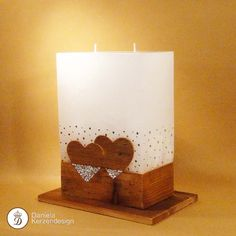 Hochzeitskerze Herz an Herz mit Glitzerband aus Swarovskisteinen Wedding Book, Dream Wedding, Candle Art, Loving U, Candle Making, Pillar Candles, Candle Holders, Wedding Inspiration, My Love