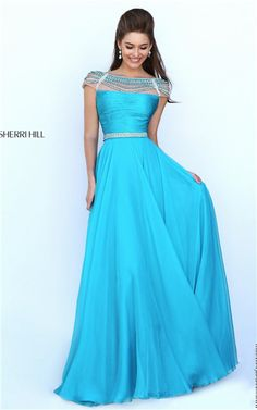 2016 Beaded Ruched Sleeved Open Back Turquoise Homecoming Gown Sherri Hill 50414