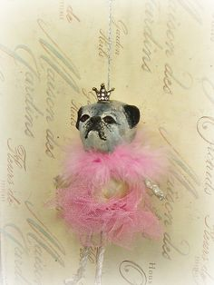 Pug ballerina princess ooak art doll ornament by sugarcookiedolls