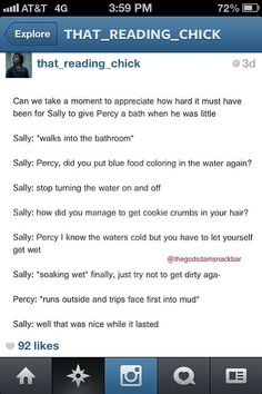 This is adorably hilarious... xD<<<<But seriously I never thought about how Percy could take a bath until this.