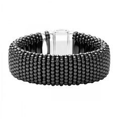 A black ceramic Caviar bracelet that is finished with a sterling silver…
