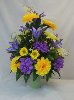 No.C0222 Cemetery Arrangement. , Spring Cone Flower, Cone Arrangement,Grave,   Tombstone arrangement,  Cemetery flowers by AFlowerAndMore on Etsy