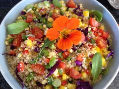 Salad anyone? Well, today it is good ol' Quinoa ! Man, I love this stuff. Okay, I don't mean 'stuff' in a bad way, I just love quinoa. The other day I brought out a fair-s… Quinoa Salad, Cobb Salad, Raw Vegetables, Veggies, Chinese Cabbage, Sugar Snap Peas, How To Cook Quinoa, Fresh Herbs, Main Meals