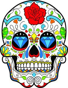 Mexican Day of the Dead Dia De Los Muertos Sugar Skull Colorful Tee T-Shirt