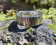 This sterling silver bark ring.
