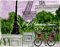 Red+Bicycle+Lavender+Parisian+Sky+por+fififlowers+en+Etsy,+$25,00