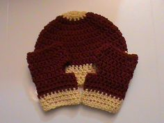 Set of Burgundy and Light Gold Crochet Beanie and Fingerless Gloves (#097R) by NoreensCrochetShop on Etsy