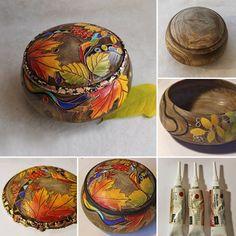 Wooden box hand painting tutorial / «Радужная осень»: делаем фактурный декор шкатулки с помощью краски и контура