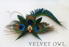 FALL 10 OFF SALE Theodora peacock fascinator and by VelvetOwl, $88.00
