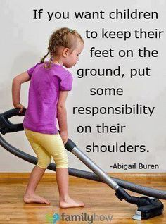 "Responsibility is all about choices, chores, being accountable in everything we do.  it is a wonderful way build and develops ""responsibility"" at home. So, at your next family meeting, discuss and develop a list of chores and that he or she will be responsible for doing. Parents talk to your child about spending and saving and it may lead to giving to a charitable organization. Dane Watson"