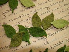 Wool Felt Leaves - Great with Flowers - Set of Medium.