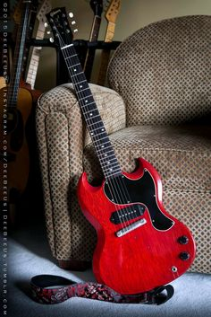 """"""" 1961 Les Paul SG Junior. If you look closely behind the bridge, the original Maestro vibrato has been removed. It was such an odd design, and Gibson used it only in the very early days of..."""