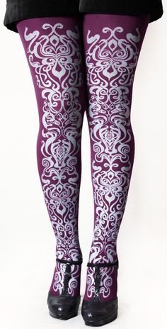 Art Nouveau Tights Small Medium Silver on Purpl... - Folksy