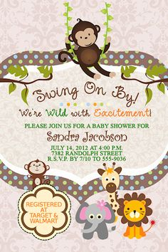Monkey Polka Dots Elephant Lion Giraffe Jungle Baby Shower Invitations
