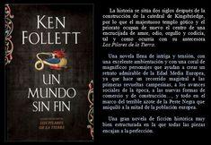 Un mundo sin fin. Ken Follett. EduRead: #RecomiendoLeer @davidgscom Ken Follett, Cover, Books, Book Reviews, Recommended Books, Libros, Book, Blanket, Book Illustrations