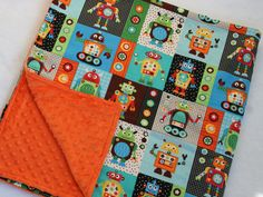 adorable Robots MINKY Baby Blanket  from etsy. i could totally make this for waaay less! must.start.sewing.