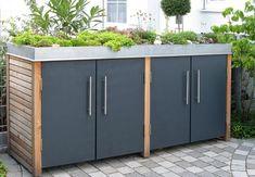 "Garden Hacks: 10 Genius Ideas to Hide Trash Cans - Gardenista - Müllhäus means ""garbage house"" in German and Passau, Germany-based Traumgarten has a collecti - Garbage Shed, Garbage Storage, Storage Bins, Bin Storage Ideas Wheelie, Hide Trash Cans, Trash Bins, Bin Shed, Outside Storage, Patio Ideas"