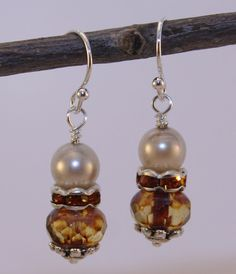 Bohemian Brown and White Vintage Pearl by BlackDragonflies3, $19.00