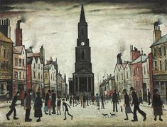 Laurence Stephen Lowry A Market Place, Berwick-upon-Tweed 1935 x 50 cm) Salford, Berwick Upon Tweed, Tate Britain, Spencer, English Artists, Willow Tree, Urban Life, Naive Art, Urban Landscape