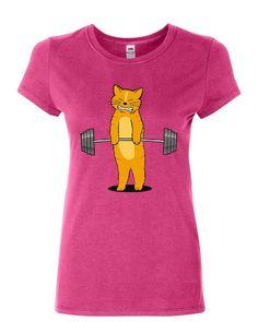 d8e5d277 Cat Deadlifting Women's T-Shirt Funny Buff Kitten Gym Workout Powerlift  Shirt. Powerlifting ...